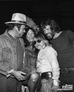 During filming for Hoyt Axton TV Special, 1976  Left to Right: Hoyyt Axton, Buffy Sainte-Marie, Paul Williams, Kriss Kristofferson