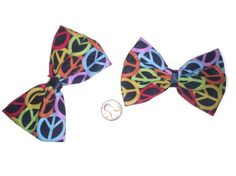 2 Rainbow Peace Sign Hairbows, Colorful Bows, Peace Sign Fabric, Fabric Bows
