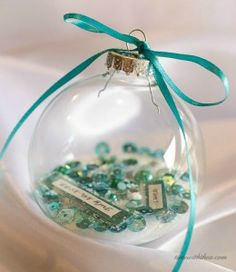 Personalized Clear Glass Christmas Ornament Gift ~ Create a persoanlized clear glass Christmas ornament based on the recipient's favourite colour. / timewiththea.com