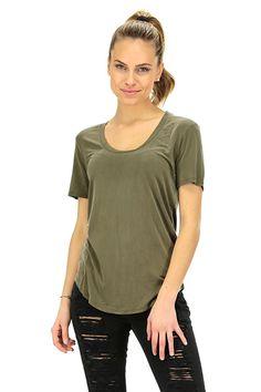 American Vintage - T-Shirts - Abbigliamento - T-Shirt in cupro a manica corta e girocollo.  Linea stondata sul fondo. - AVOCAT - € 95.00