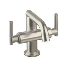 Kohler Polished Chrome (Grey) Purist Widespread Lavatory Faucet With Low  Gooseneck Spout And Low Cross Handles | Pinterest | Kohler Bathroom, ...