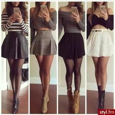S skirts in 2019 fashion outfits, skirt outfits, skater skirt Komplette Outfits, Fall Outfits, Casual Outfits, Summer Outfits, Fashion Outfits, Dress Fashion, Fashion Tights, Fashion Blogs, Bodycon Fashion