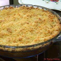 Crumble de maçãs-8 maçãs Fuji, suco de limão, açúcar e canela a gosto. Cobertura- 1xícara de farinha, 1/2xícara de açúcar,125g de margarina em pedacinhos, 1/2 xícara de nozes picadas e canela a gosto