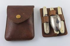 Camping/traveller set in leather case by DeDienst on Etsy