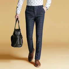 New 2016 Plaid Men Pants Summer Spring Fashion Brand Korean Style Pants Men Slim Leisure Causal Pants For Men Trousers