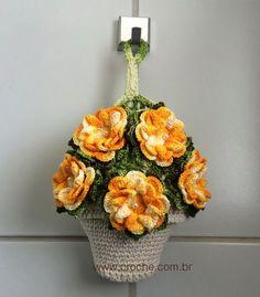 Puxa-saco vaso de flores passo a passo | Croche.com.br