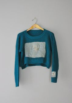 Upcycled Boho Crop Sweater in Teal and Sea by RebirthRecycling