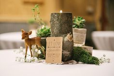 Deer Themed Woodland Wedding {Allie Siarto Photography} 18 Deer Themed Woodland Wedding {Allie Siarto Photography} 18 The post Deer Themed Woodland Wedding {Allie Siarto Photography} 18 & Antonio 1 ano appeared first on Forest party theme . Non Floral Centerpieces, Wedding Table Centerpieces, Centerpiece Flowers, Centerpiece Ideas, Wedding Decoration, Woodsy Wedding, Floral Wedding, Indoor Wedding, Forest Wedding