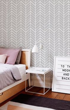 Self adhesive vinyl wallpaper - Herringbone pattern print  - 026 SNOW/ WHISPER