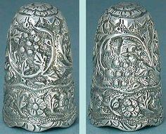 Indian Antique Thimble (Ornate India Sterling Silver Thimbles, Vintage Circa 1890 Metal Thimble)