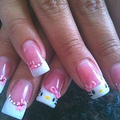 Pink & White glitter Hello Kitty nail w/acrylic and gel.