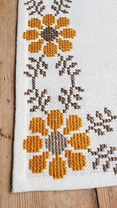 Beautiful floral/autumn cross stitch embroidered tablecloth in white linen from Sweden Beautiful floral cross stitch embroidered tablecloth in white linen, mint condition. The size is:. Cross Stitch Art, Cross Stitch Borders, Cross Stitch Flowers, Modern Cross Stitch, Cross Stitching, Cross Stitch Embroidery, Cross Stitch Patterns, Border Embroidery, Logo Floral