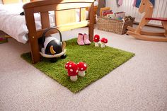 fun grass rug for playroom (ikea hampen) Ikea Fado, Diy Tapis, Woodland Room, Woodland Garden, Grass Rug, Grass Carpet, Stair Carpet, Baby Playroom, Playroom Ideas