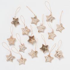 Birch Star Ornaments in Holiday ORNAMENTS Sets at Terrain - Carved from solid birch wood, this set of bark-covered stars adds a rustic look to holiday trees. Noel Christmas, Winter Christmas, All Things Christmas, Christmas Crafts, Christmas Decorations, Xmas, Holiday Tree, Holiday Ornaments, Holiday Fun