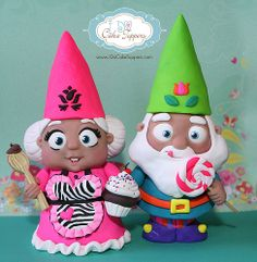 Mr & Mrs Gnome sculpted by Christina Patterson from www.iDoCakeToppers.com #gnomes