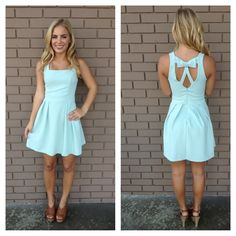 Mint Cascade Bow Back Dress