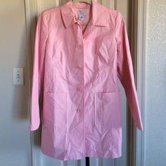 """NWOT Ann Taylor water resistant long jacket NWOT Ann Taylor long jacket. 34"""" from collar to hem. Water resistant. Has 2 front pockets and side darts. It's a soft pink. Ann Taylor Jackets & Coats Jean Jackets"""