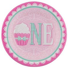 Small Pink \u0026 Green First Birthday Cupcake Plates  sc 1 st  Pinterest & Everything One Girl Dinner Plates | Babies