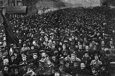 Russian Revolution Image 4: A student demonstration on the streets of the Petrograd attracted soldiers and women.