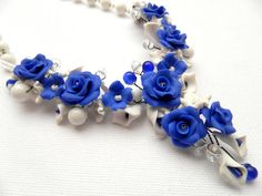#Blue  Blue #roses  #Handmade bib necklace  Jade by insoujewelry, $53.00