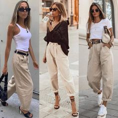Slouchy jeans 💥~ Which look is your favorite 2 or _______________________________________________ . Basic Outfits, Mode Outfits, Trendy Outfits, Fashion Outfits, Womens Fashion, Fashion Trends, Jeans Fashion, Simple Outfits, Fashion Clothes