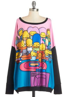 The Simpsons Gang's All Here Sweatshirt. As part of the weeks TV night tradition, your pop-culture-loving pals delight in this Simpsons and Hello Kitty mash-up sweatshirt!  #modcloth