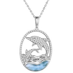 Sterling Silver Womens 1mm Box Chain 3D Dolphin And Calf Swimming Pendant Necklace