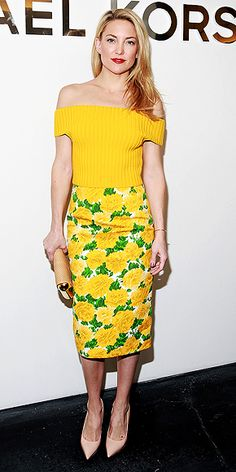 New York Fashion Week: Kate and Allison Bring the Sunshine! | KATE HUDSON | Kate was up super early with her glam squad to prep for the Michael Kors shows, but it paid off: The star looks glowy, gorgeous and ready for spring in an outfit by the designer.