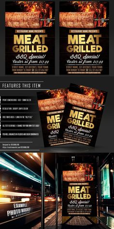 Restaurant Flyer, Restaurant Names, Psd Templates, Flyer Template, Find Fonts, Street Names, Club Design, Grilling, Bbq