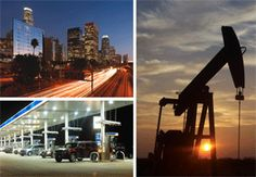Three photos: Streaking vehicle lights illuminate a highway near a row of skyscrapers at dusk. A line of vehicles at gas pumps under an illuminated roof. The sun sets on a prairie, making a silhouette of a drilling rig.