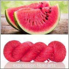 Expression Fiber Arts, Inc. - WATERMELON RED SUPERWASH MERINO SILK PEARLESCENT WORSTED YARN , $30.00 (http://www.expressionfiberarts.com/products/watermelon-red-superwash-merino-silk-pearlescent-worsted.html)