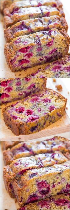 The Best Raspberry Bread - Theres almost more raspberries than bread! Super soft and just bursting with juicy berries! So delishhhh!