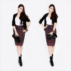 plaid pencil skirt, belt, cardigan. #classy #style #workoutfit