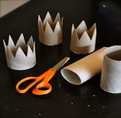 Emprestado do blogue DUAS MIL PALAVRAS / para coroar todas as princesas do mundo não há de faltar material! / Recorte o tubo de cartão ...