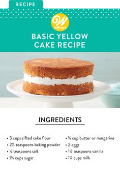 Basic Yellow Cake Recipe There's nothing more classic than a homemade yellow cake. Whether you're baking it for birthday party or just for fun, this basic cake recipe is bound to be an instant favorit Homemade Cake Recipes, Baking Recipes, Dessert Recipes, Desserts, Homemade Cake Stands, Basic Yellow Cake Recipe, Basic Cake Mix Recipe, Gourmet, Cake Recipes