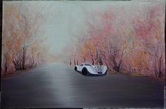 """Купить Картина """"Осень в ретро-стиле"""" - бледно-розовый, осень, ретро, ретро стиль"""