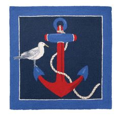 3 x 3 bright nautical red, white and blue wool hooked area rug decorated with an adorable sea bird and red anchor - perfect little accent rug for a coastal bedroom or bathroom.