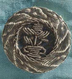 1765 Man's suit detail. Silk plain weave (faille) with metallic-thread passementerie. LACMA M.2007.211.41a-c.
