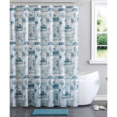 Victoria Classics Blue Nautical Cabana 14-Piece Shower Curtain Set (24 CAD) ❤ liked on Polyvore featuring home, bed & bath, bath and shower curtains