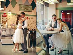 Ice Cream Parlor Engagement Shots :) so cute!