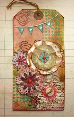 Original Collage Vintage Style Altered Tag Mixed by DancingGirlArt, $15.00
