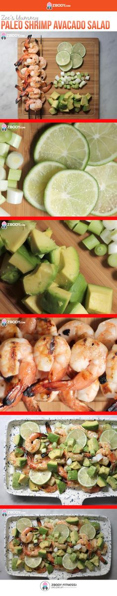 Paleo Grilled Shrimp and Avocado Salad Halved the recipe, was perfect amount for Shrimp And Avacado Salad, Avocado Salad, Seafood Recipes, Cooking Recipes, Gluten Free Recipes, Healthy Recipes, Clean Eating, Healthy Eating, I Chef
