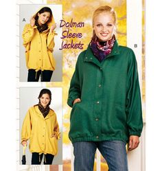 ON SALE TODAY! kwik sew dolman sleeve jackets sewing pattern, size xs-s-m-l-xl is going fast. Kwik Sew Patterns, Vogue Patterns, Mccalls Patterns, Cute Raincoats, Raincoats For Women, Best Rain Jacket, Sewing Essentials, Yellow Raincoat, Yellow Coat