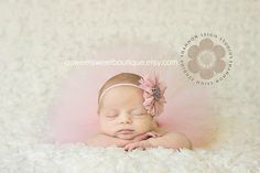 Sweet Baby Vintage Tutu Newborn Tutu Custom Made With Matching Vintage Style Flower Headband Stunning Newborn Photo Prop