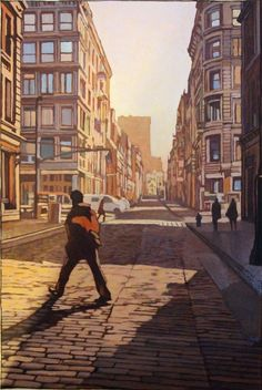 Miles Hyman > Morning Light on Broome Street (NYC), 2010-2012 | Huile sur papier, 59 x 39,5 cm