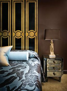 For the new master suite addition at the home he shares with Keith Traxler, Chad Holman used an elegant black and gold screen in place of a traditional headboard. Mirrored nightstand, The Stalls. Master Suite Addition, Mirrored Nightstand, Interior Architecture, Interior Design, Room Of One's Own, Atlanta Homes, Home Furniture, French Furniture, Headboards