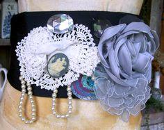 Unisex Tranny Or Drag Repurposed Wearable Mixed Media Art Belt Sash Cummerbund Corselet Chincher Plus Size Black Cameo Gray Pearls