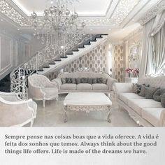 Home Design Living Room, Glam Living Room, Elegant Living Room, Elegant Home Decor, Dream Home Design, Luxury Home Decor, Elegant Homes, Interior Design Living Room, Living Room Decor