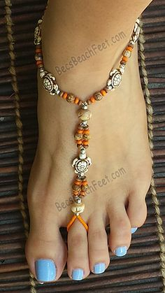 Jasper Turtles ~ Foot Jewelry & Barefoot Sandals. Made with wood, bone, silver plate and Picture Jasper beads. The orange wood beads add a burst of color! BecsBeachFeet.com Handmade Foot Jewelry For Anytime AnyWEAR!™