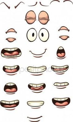 Buy Cartoon Mouths by memoangeles on GraphicRiver. Cartoon mouths and eyes. Vector clip art illustration with simple gradients. Each on a separate layer. Cartoon Faces Expressions, Smile Drawing, Cartoon Expression, Mouth Drawing, Drawing Cartoon Characters, Drawing Expressions, Cartoon Drawings, Cartoon Art, Cartoon Ideas